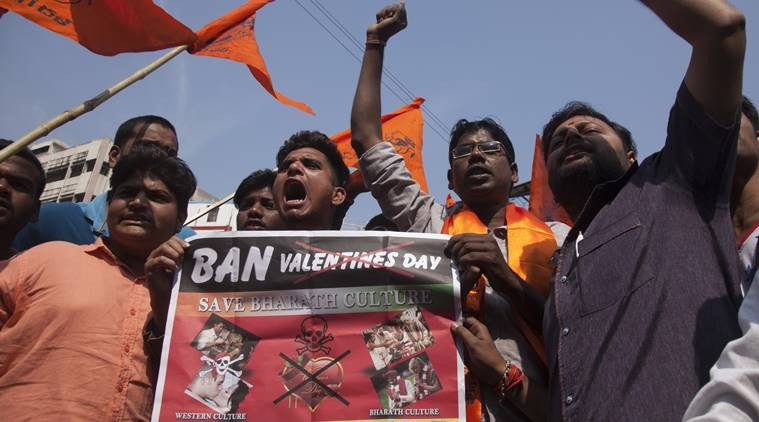 Bajrang Dal Morcha Against Valentines Day
