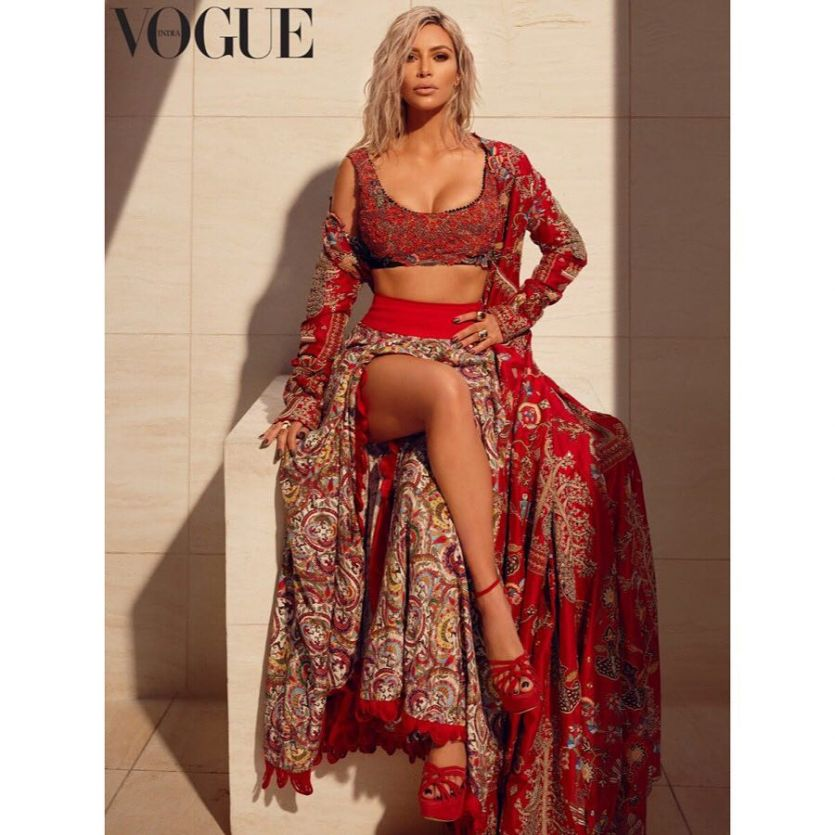 Kim Kardashian First Photoshoot in Indian Outfit